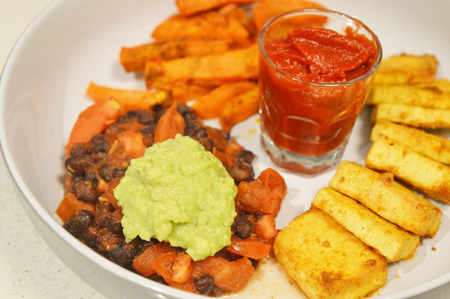 mexican tofu with bean salad and sweet potato fries 3