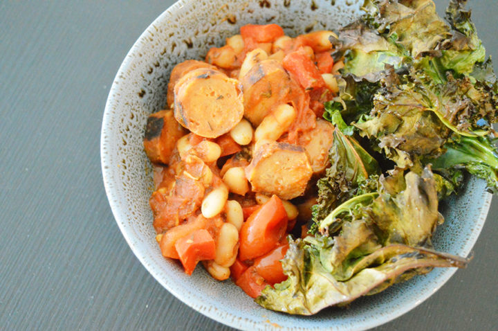 Veggie sausage casserole with kale chips