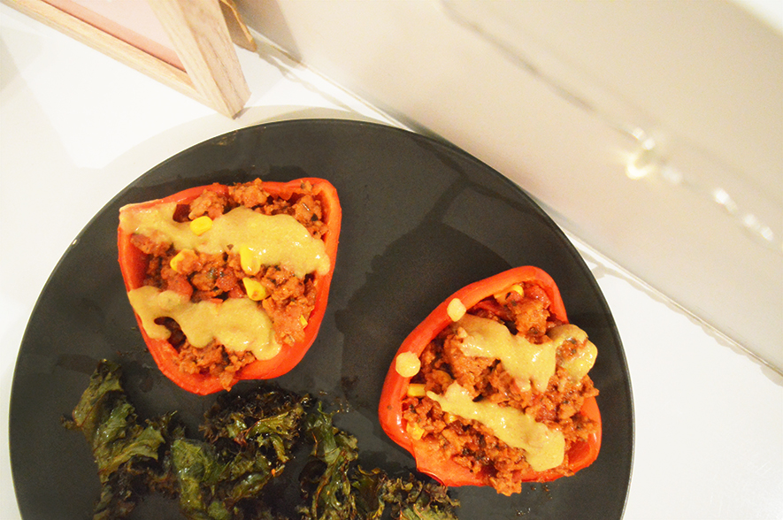 stuffed peppers with kale chips 4
