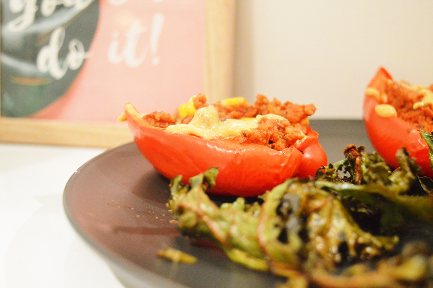 stuffed peppers with kale chips
